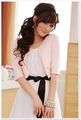 【現貨賠本出清特價】☆°大尺寸粉色8308俏麗公主百搭領邊小玫瑰中袖小外套XL可自取