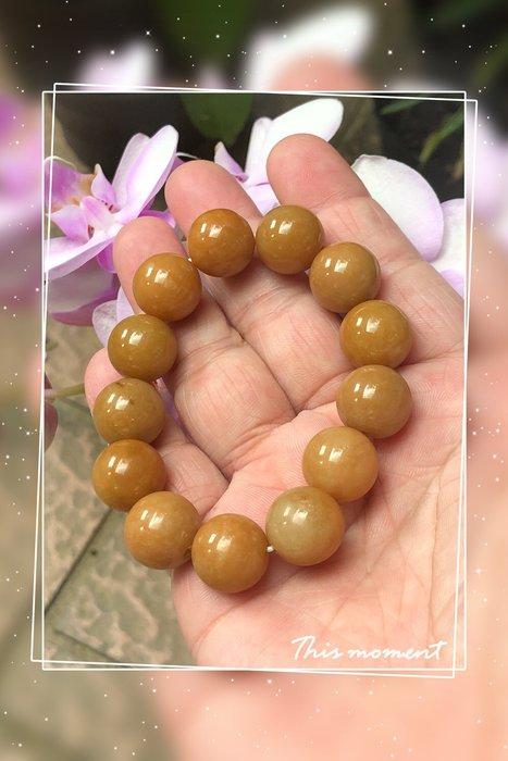 天然緬甸A貨翡翠黃翡手珠鍊圓珠手珠(熱賣款)也可以當佛珠含運