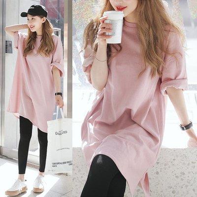 《澤米》長版純棉粉色T桖 韓版女中長款打底衫 2019新款五分袖寬鬆女裝 春夏蝙蝠袖大尺碼粉紅色素T 女裝孕婦裝上衣
