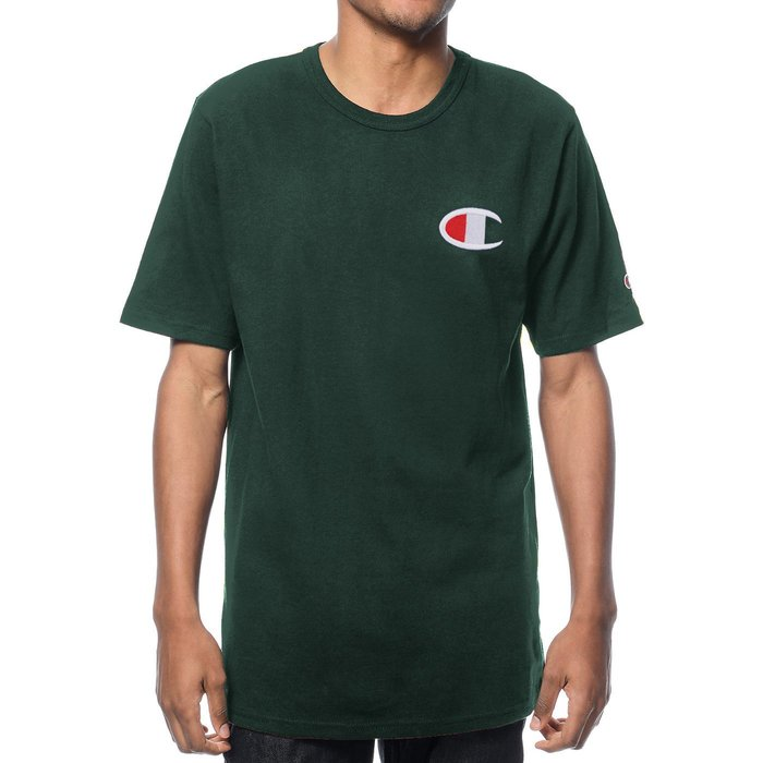 美國百分百【Champion】冠軍 T恤 短袖 T-shirt 電繡 大logo 素T 高磅數 潮牌 深綠色 H256