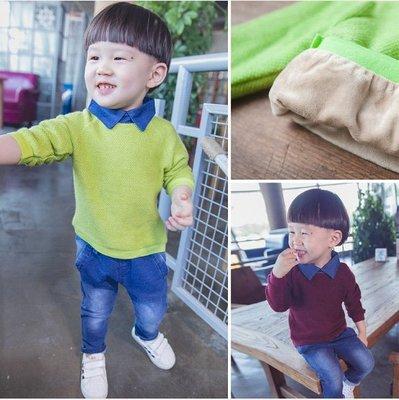 "♥【BC0157】QY-6521 韓版男童裝""加厚刷毛""牛仔領毛衣 2色 (酒紅色 現貨) ♥"