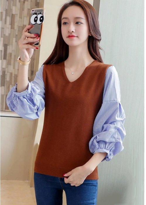 條紋拼接兩件針織衫韓版女V領薄款泡泡袖