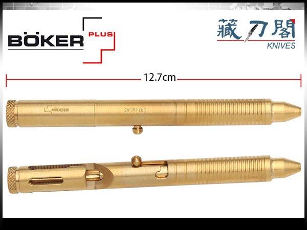 《藏刀閣》BOKER Plus-(CID cal.45 Brass)槍栓式戰術筆(黃銅/長)