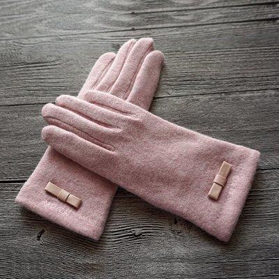 新品上市#秋冬女士新品簡約蝴蝶結雙層加厚加絨羊毛觸屏保暖手套