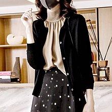 『 筱涵 日系美學衣飾 』簡約通勤 下擺開叉 八分袖絲羊毛針織開衫