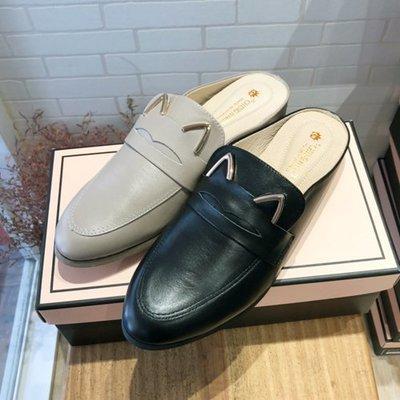 DG韓系鞋坊-2020春款 MIT 牛真皮穆勒鞋 敲可愛貓耳朵鞋面 經典飾釦 現貨出清