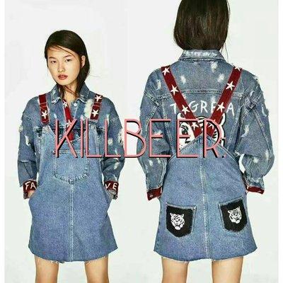 KillBeer:歐美zara同款搖滾復古星星老虎頭撞色水洗丹寧吊帶裙牛仔裙洋裝topshop asos  H&M