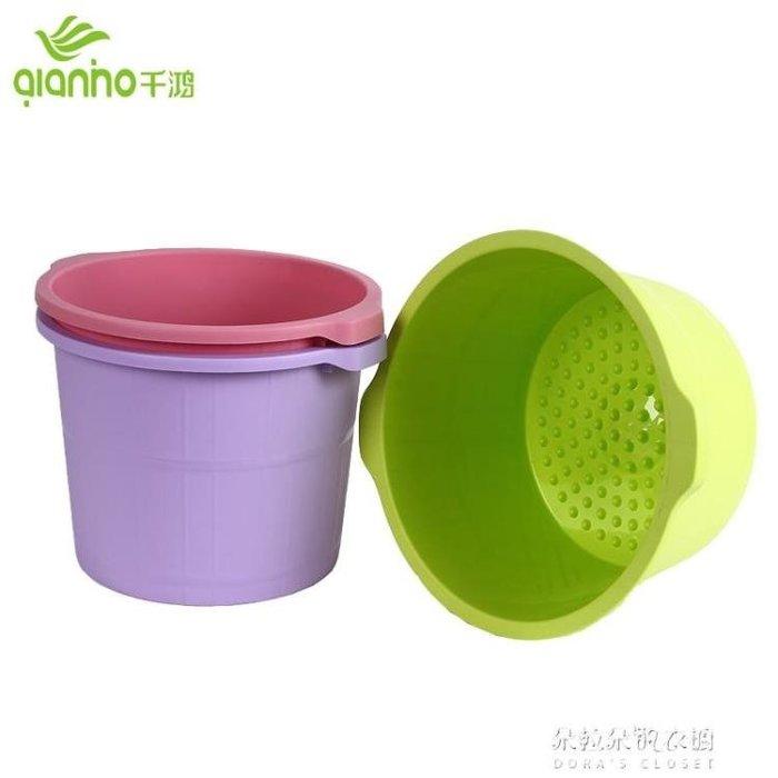 千鴻加厚加高泡腳桶塑料足浴桶洗腳盆帶腳底按摩洗腳桶足浴盆家用