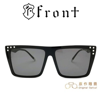 Front 太陽眼鏡 Grace Gd009 (黑) 灰色鏡片 韓系潮流 方框 墨鏡【原作眼鏡】