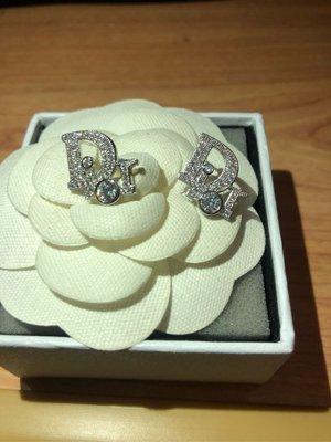 Dior二手經典款水鑽簡約辨識度logo耳環