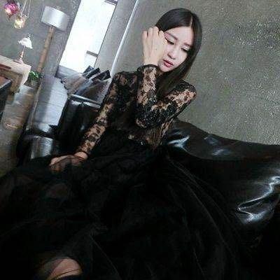 蕾絲洋裝 長袖連身裙(零碼賠售出清、恕不退換)-黑色性感優雅時尚氣質連衣裙72f6[獨家進口][米蘭精品]