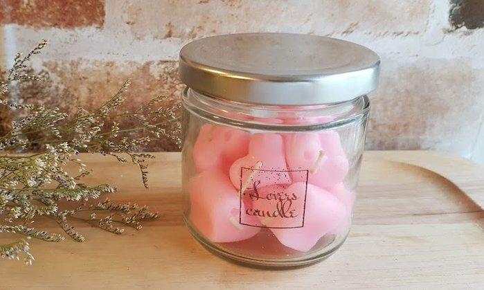 蠟燭玻璃罐*1+小愛心蠟燭*8 (附透明殼底座*1)【排字/活動/婚禮/七夕情人節】