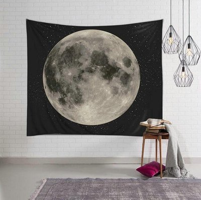 月球掛布-月亮裝飾掛毯 居家裝飾布 拍照背景布 壁毯 掛畫(130*150cm)_☆優購好SoGood☆