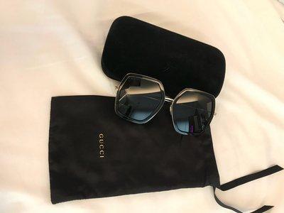 GUCCI 黑框金邊太陽眼鏡,oversized墨鏡