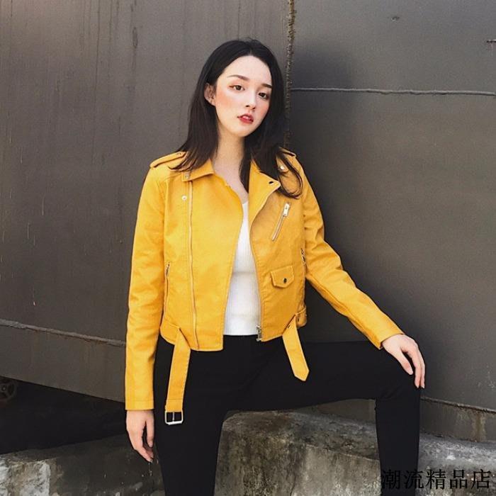 春裝女新款機車服外套學生韓版寬松帥氣皮衣修身短款夾克上衣