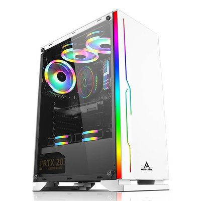 電腦機殼RGB粉色少女心 臺式全側透玻璃ATX商務游戲電腦機箱背走線USB3.0