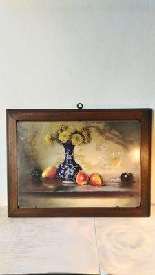 義大利進口~ 鄉村風老木頭花瓶水果版畫 壁畫 壁飾(絕版經典款)~優惠特價