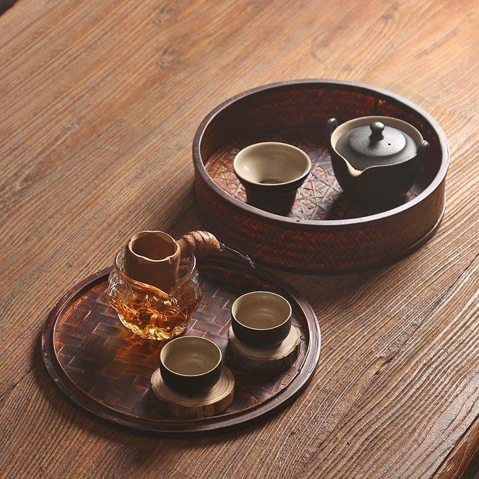 5C精選@中式竹編茶具收納盒 竹制有蓋防塵整理盒 茶籠實木功夫茶具儲存
