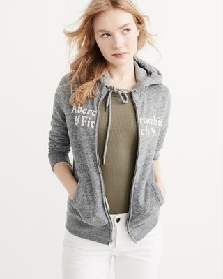T☆【A&F女生館】☆【Abercrombie&Fitch LOGO麋鹿連帽外套】☆【AFG005E3】(XS)