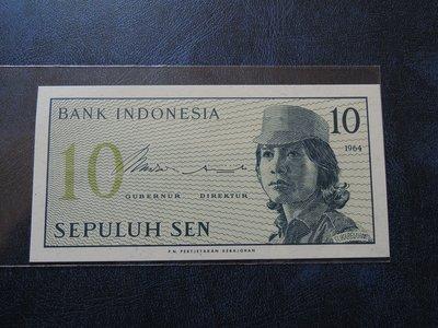 【寶家】ndonesia印尼紙鈔196410Sen XD016735 品項如新