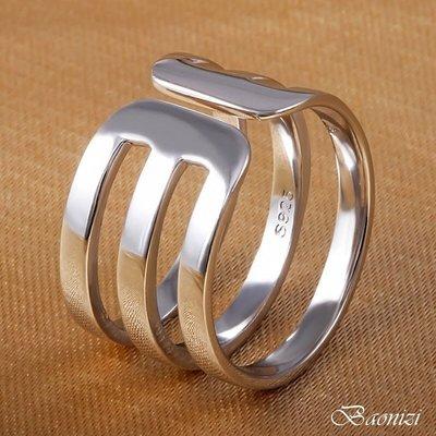 《現貨》 國際925純銀戒指 三層三線 素銀光面 簡約個性 開口戒  男女同款 生日情人聖誕節禮物 寶妮子Baonizi