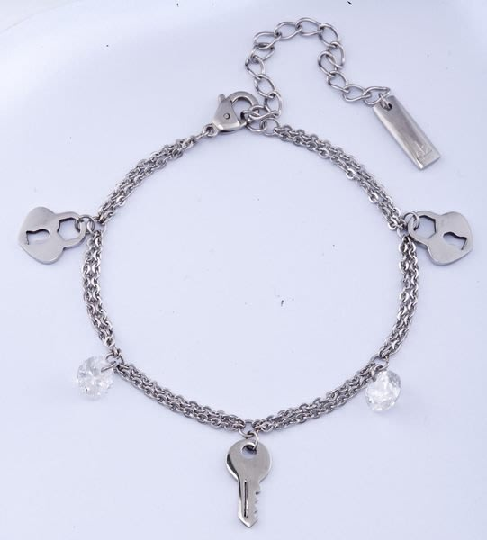 金永珍時尚珠寶* d2 白鋼珠寶 情人節 手鍊【心鎖】*