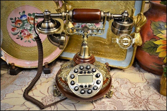 歐式古典風 咖啡色立體葉子雕花桌上型電話 古銅金色巴洛克圖騰裝飾藝術市內電話 造型電話擺設擺飾民宿櫥窗送禮品【歐舍家飾】