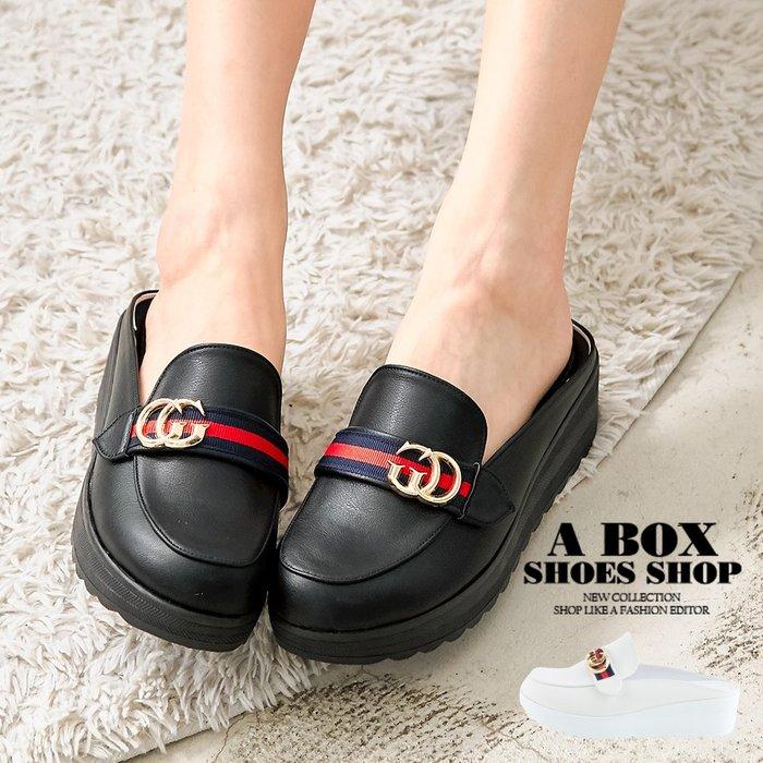 格子舖*【KTW7786】4.5CM厚底穆勒鞋 休閒百搭飾釦緞帶半包鞋 MIT台灣製 2色