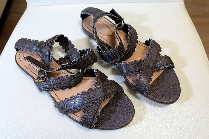 *Beauty*SEE BY CHLOE咖啡褐色蜥蜴皮紋交岔涼鞋  VL 39號
