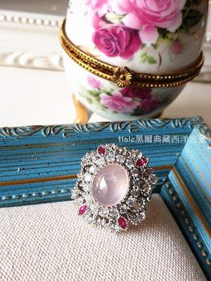 黑爾典藏西洋古董 ~ 純925銀奢華豪華鑲嵌蛋面粉水晶滿鑽桃花馬眼鋯石戒~生日禮物珠寶