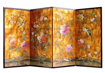 【芮洛蔓 La Romance】 東情西韻系列手繪絹絲屏風 - 富貴花開
