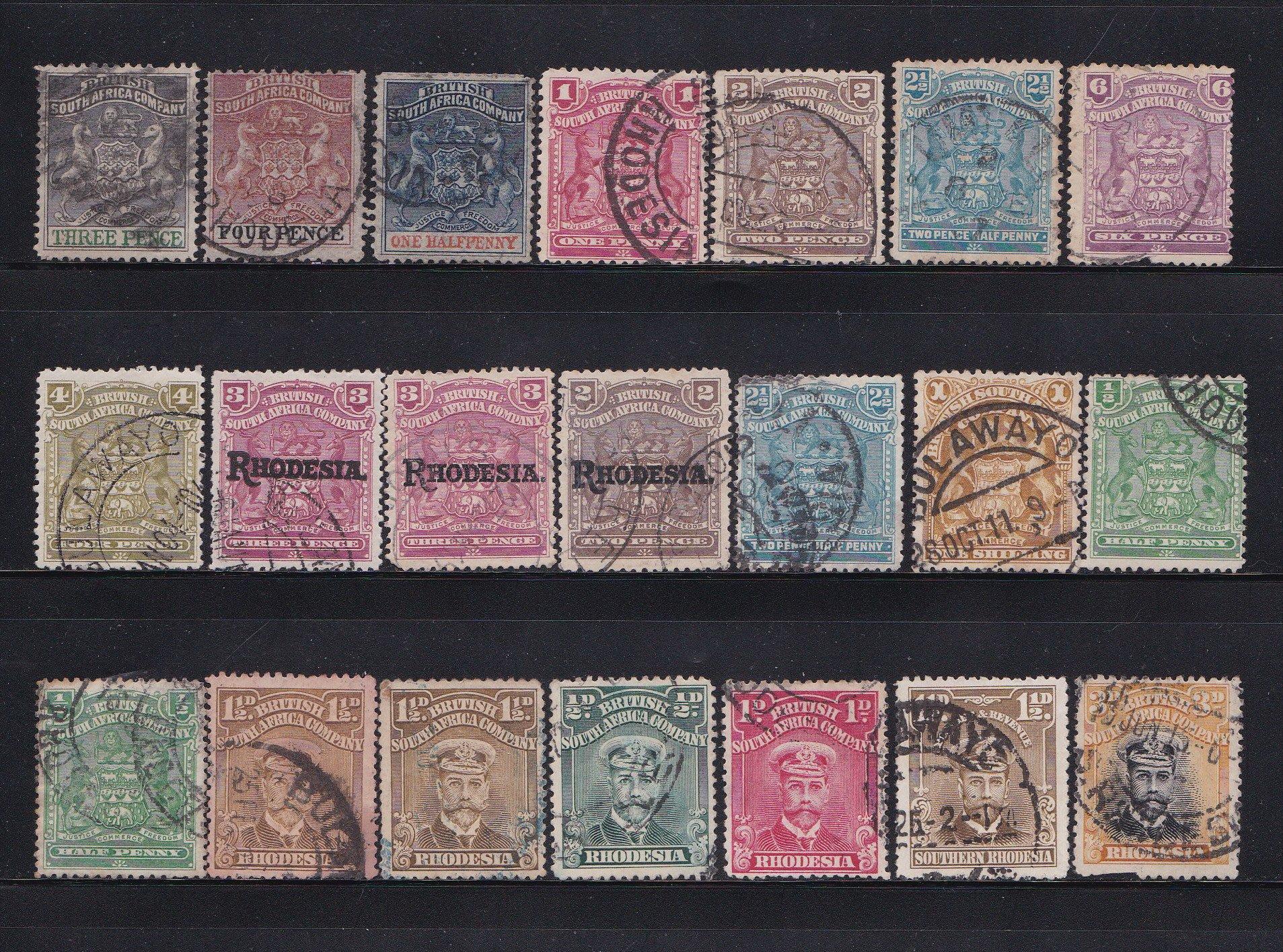 英屬南非公司-羅德西亞 1892-1913 各式各色已使用/加蓋郵票共21枚