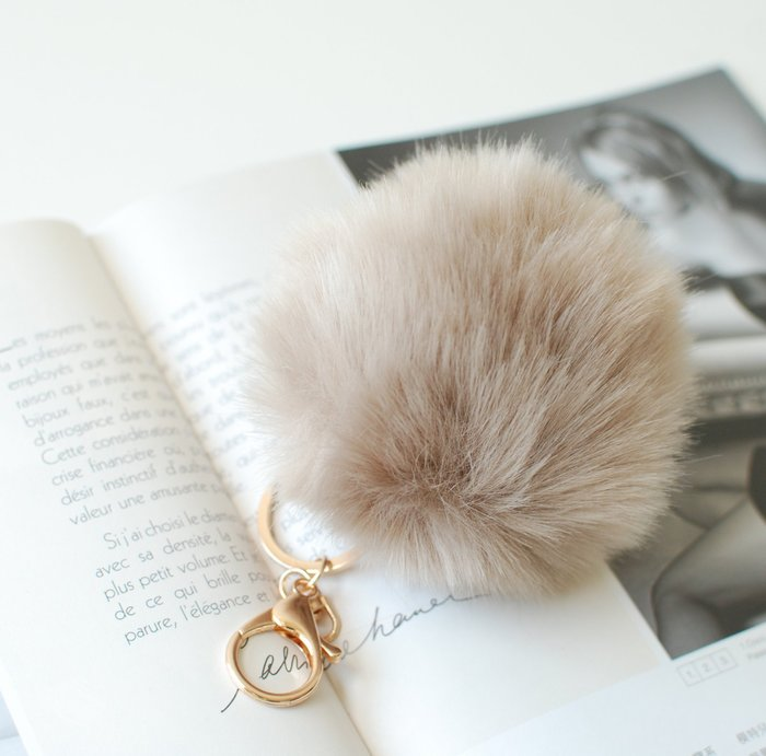 【里樂@ LeaThER 】仿兔毛 毛絨絨毛球包包吊飾 鑰匙圈 巧 508