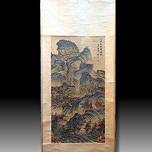 【 金王記拍寶網 】S1637 張大千款 工筆山水圖 手繪書畫捲軸一幅 罕見 稀少~