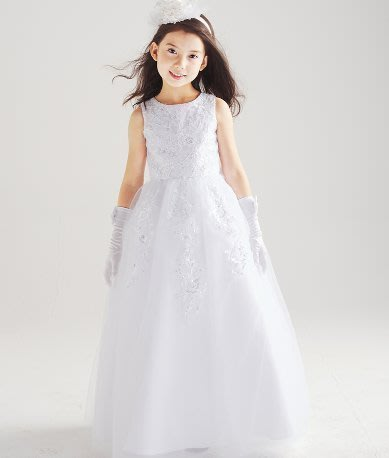 ZN 氣質優雅無袖禮服 白色婚紗禮服公主裙花童無袖長款晚禮服 音樂鋼琴表演服 可搭配水鑽皇冠 長手套 現貨