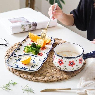 【居家必備 生活小助手】日韓進口廚具歐式民族風手繪盤子家用陶瓷餐具-3色可可里百貨