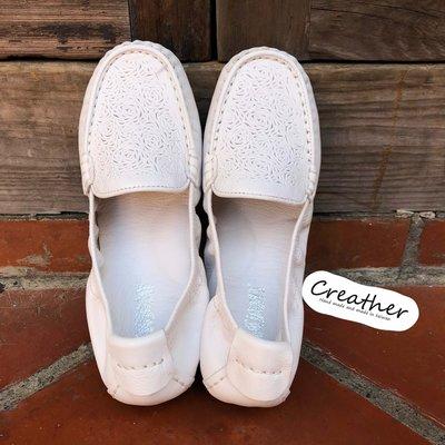 尺寸不齊 出清特價中 純白花紋氣墊娃娃鞋【Creather瘋皮閣】
