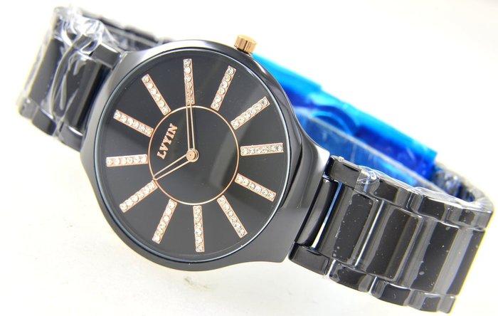 (六四三精品)LVYIN錶徑3.7公分.高檔陶瓷錶殼及錶帶.時.分.秒大三針功能精準錶!