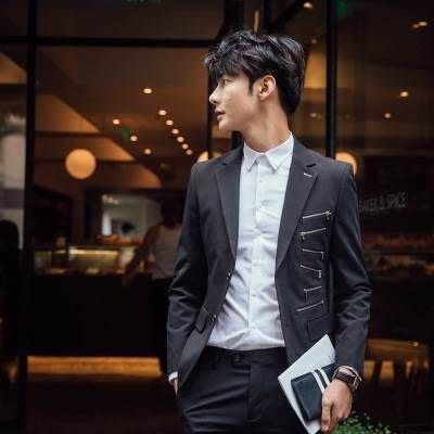 西服套裝含西裝外套+西裝長褲(二件套)-韓版個性拉鍊設計伴郎男西裝2色73hc68[獨家進口][米蘭精品]