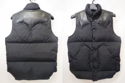 ROCKY MOUNTAIN FEATHERBED 經典 DOWN VEST 羽絨背心之王 皮革 全黑 小碼 36號