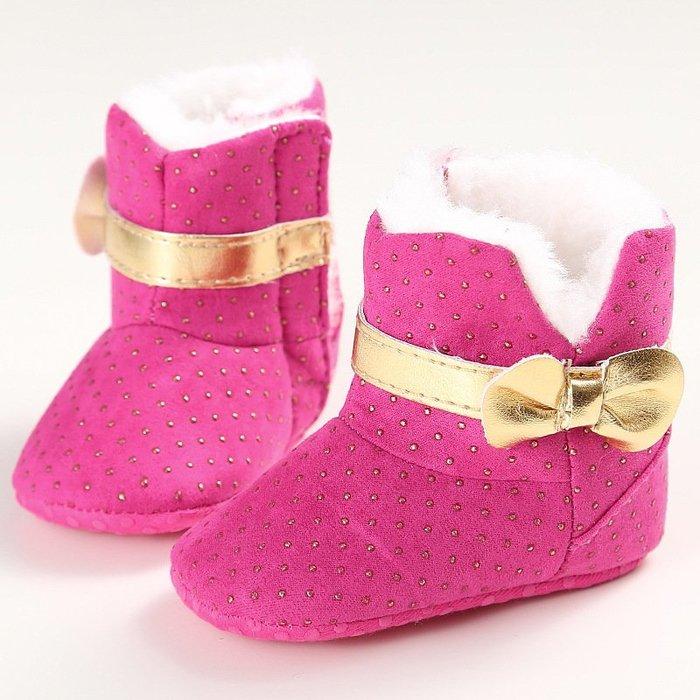 森林寶貝屋~金色蝴結雪靴~學步鞋~保暖鞋~寶寶鞋~嬰兒鞋~童鞋~學走鞋~保暖舒適~彌月贈禮~特價1雙135元