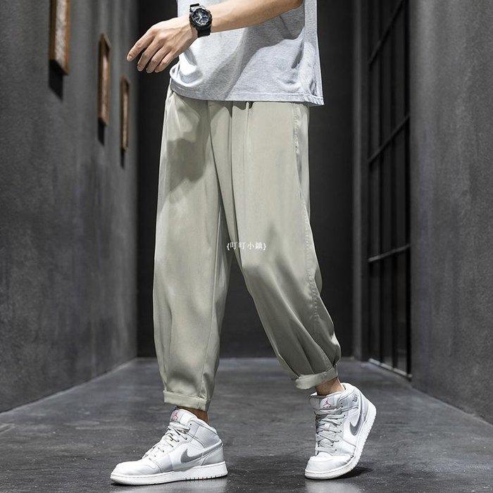 {叮叮小鎮}男裝2020夏季新港風冰絲長褲休閒褲男寬松西裝褲原宿風九分褲B5Y20