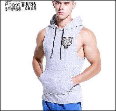 【Feast-菲斯特】-個性時尚棉透氣連帽背心 青年健身運動坎肩無袖t恤 跨欄潮流汗衫20180523012
