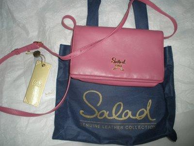 SALAD 粉色 真皮 牛皮 卡層 肩背 斜背  拉鍊 可愛 小背包 長夾 皮夾 手機包 專櫃正品 附防塵袋