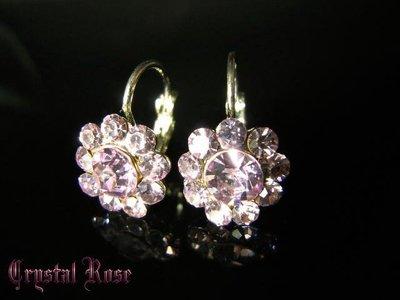 ※水晶玫瑰※ 水晶鑽 耳勾式耳環(DD421)~三件免郵