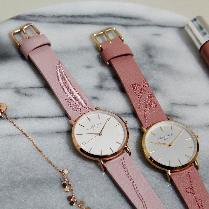 【Rosefield】紐約時尚手錶女錶現貨,首賣特價85折,玫瑰金粉色刺繡真皮錶帶,錶面33mm可用於Cluse