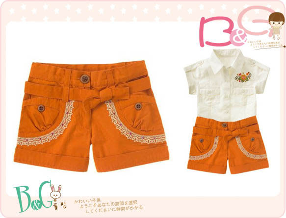 【B& G童裝】正品美國進口GYMBOREE橘色格紋布短褲5,6yrs