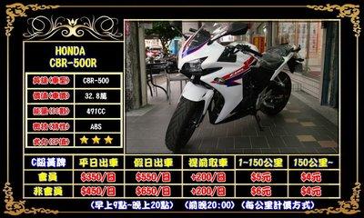 HONDA CBR500R出租(ABS) 租CBR500R(可刷國旅卡)三重千大@重型機車出租@當日租還取車費350元
