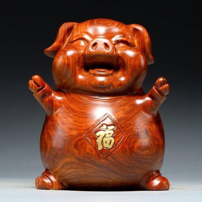 【睿智精品】中式居家擺設 花梨木雕招財豬 財源廣進 風水擺設 客廳擺設(GA-4424)