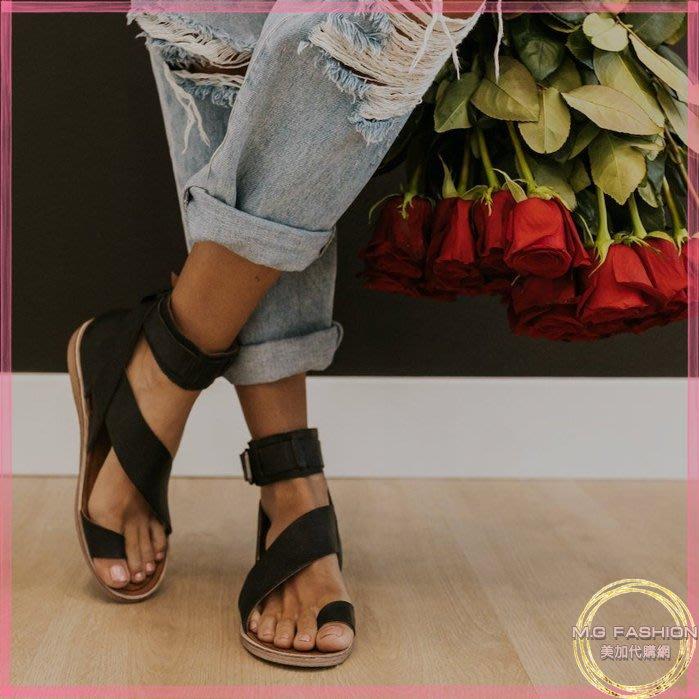 ㅑGrace 美國代購ㅕ正品 |Free People| 西班牙製 真皮及踝套趾平底涼鞋 黑色